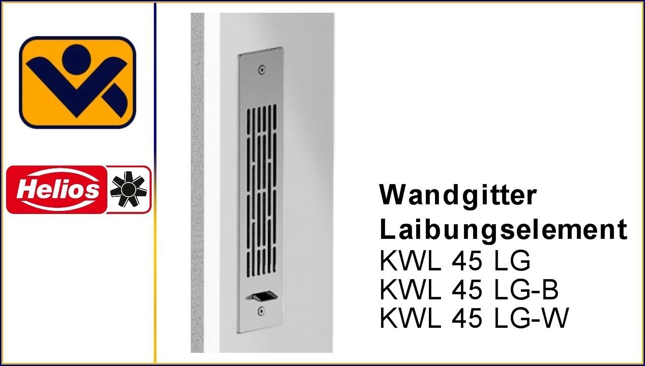Wandgitter Laibungselement,KWL 45 LG , 4167,Edelstahl , Kondensatablauf, aufgeklebter Dichtung,Beschichtung,4168, iv-krause Helios Ventilatoren 4169