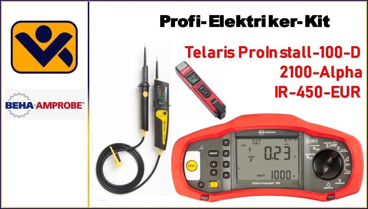 Telaris ProInstall-100-D,IR-450-EUR,2100-Alpha,Spannungspruefer, Durchgangspruefung,Installationtester,Mini Infrarot-Thermometer, iv-krause Beha Amprobe, 4609647, PROIN-100-D ELEC