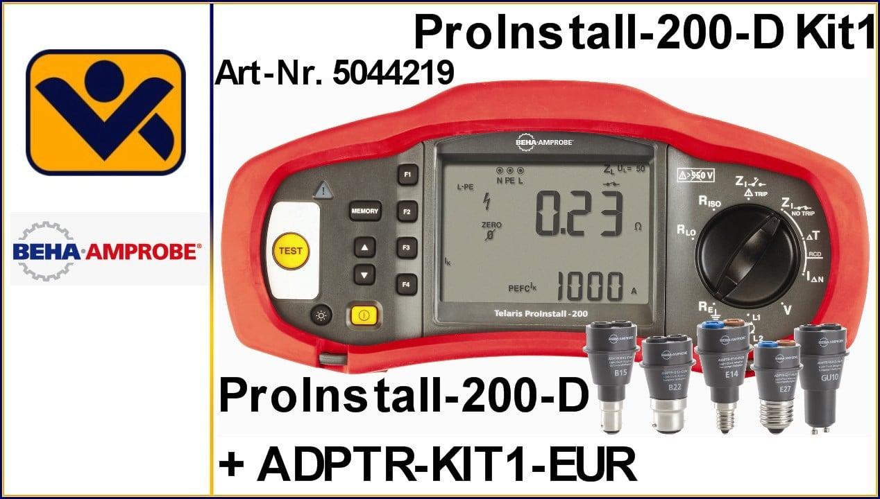 5044219_Installationstester_Telaris_ProInstall-200-D_Lampenpruefadapter-Set_ADPTR-KIT1-EUR_Aktion_iv-krause_Beha_AmprobeVDE 0100_Anlagentester_ CAT-III_500V_CAT-IV_300V Lampenprüfadapters sind perfekt zur Verwendung für folgende Produkte geeignet: Installationsmessgeräten Isolationsmessgeräte Leitungssucher Spannungsmessung und -überwachung für Netzqualität Technische Daten Lampenprüfadapter Kit mit Tragbehälter, inklusive E27, E14, GU10, B22, B15 Artikel Nr. 4854835 Prüfung von allstromsensitiven RCD/FI (Typ B) Speicher für ca. 1000 Messungen Erdungsmessung (optional mit Sonden) RCD/FI-Analyse zur Prüfung aller Parameter eines RCD/FI Funktionen Schleifenwiderstandsmessung Netzinnenwiderstandsmessung Kurzschlussstrommessung Niederohm- und Durchgangsmessung Isolationsmessung RCD/FI-Messung (Berührungsspannung, Auslösezeit, Auslösestrom – steigender Strom) Spannungs- und Frequenzmessung Geräteinformationen Speicher für ca. 400 Messungen mit 3 Ebenen für Zuordnung von Verteiler-und Stromkreisnummern IR/USB-Schnittstelle zur Übertragung der gespeicherten Messwerte zum PC Software zur Protokollierung optional erhältlich zur Ausdruck eines Prüfprotokolles Integrierter Steckdosentest mit Berührungselektrode zur Ermittlung falsch angeschlossener Steckdosen bzw. fehlende Schutzleiter Leicht abzulesendes, großes LC-Display mit Hintergrundbeleuchtung und besonders großem Betrachtungswinkel Auto-Power-Off Gerätehighlights Kompakte und robuste Bauform ermöglich das Arbeiten auch unter schwierigsten Bedingungen (wiegt nur 1500g) Einfach zu bedienende, intuitive Benutzerober-fläche ermöglicht es Ihnen sofort und effizient zu arbeiten Prüfspitze mit Testknopf im Lieferumfang erhältlich Schleifenwiderstandsmessung und Kurzschlussstrommessung ohne Auslösen des RCD/FI Artikel Nr. 4373980